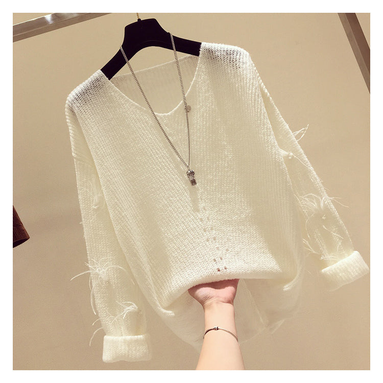 Feather Fringed long sleeve V-Neck Pullover Sweater