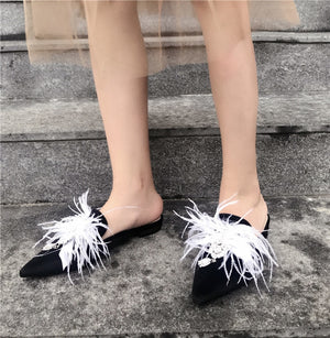 Pointy Toe Flat Mules with Crystal Bling