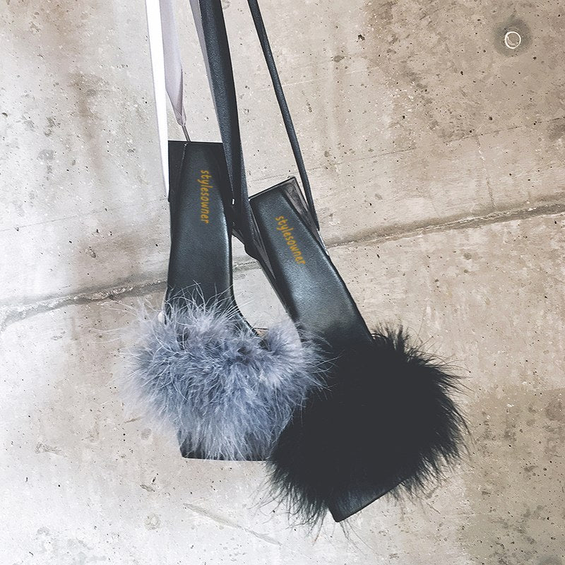 Marabou Feather Architecture Heel Sandals