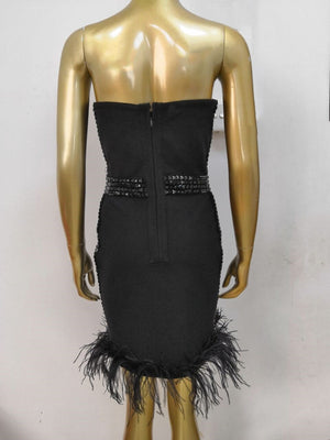 Strapless Fitted Bustier Beaded Dress with Ostrich Hem
