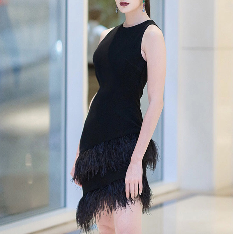 Sleeveless Fitted Cocktail Dress with Asymmetrical Ostrich Feather Hem