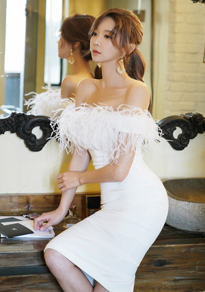 Strapless Midi Ostrich Feather Dress