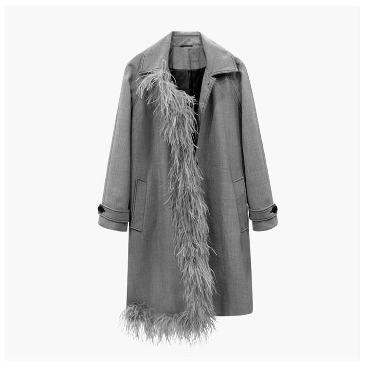 Trench Coat Notch Collar Coat with Ostrich Feather Trim