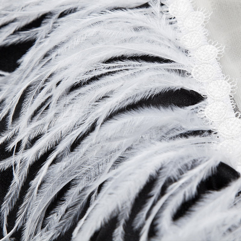 Illusion of 'Off-the-shoulder' Ostrich Feather Trim Capelet Mini Dress
