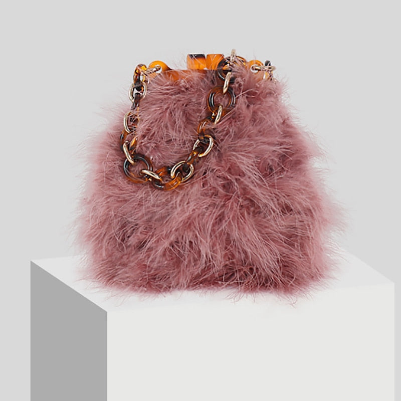 Marabou Feather Handbag with Tortoise Shell Chain Handle