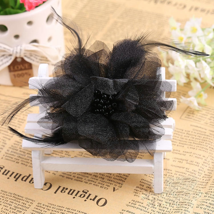 Feather & Silk Flower Brooches Pin