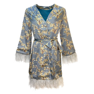 Printed Satin Wrap 'Robe' Belted Dress with Ostrich Fringe Cuffs & Hem
