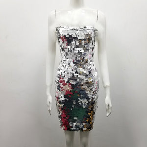 XXL Silver Sequin Body-con Mini Dress with Marabou Feather Trim