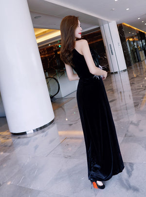 Halter Neck Color-block Stretch Velvet Gown with Feather Bodice