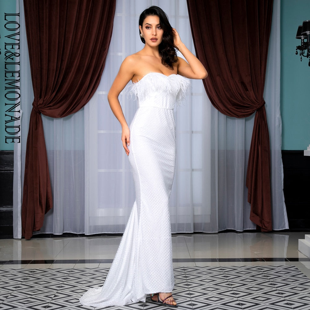White Strapless Glitter Gown w/ Ostrich Feather Neckline