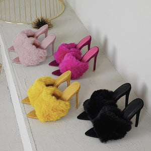 Marabou Feather 'Muff' Open Toe Mules