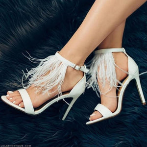 White Feather Sexy Thin High Heel Buckle Open Cover Hee Solid Summer Fashion Simple Women Sandals Normal Size High Quality