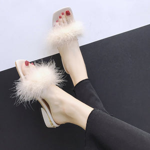 Sq. Toe Marabou Feather Slide Sandals