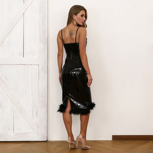 PU Leather  Midi-Bodycon Dress with Marabou Hem