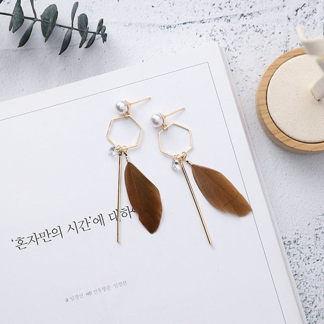 Gold Geometric Metal & Feather Statement Earrings
