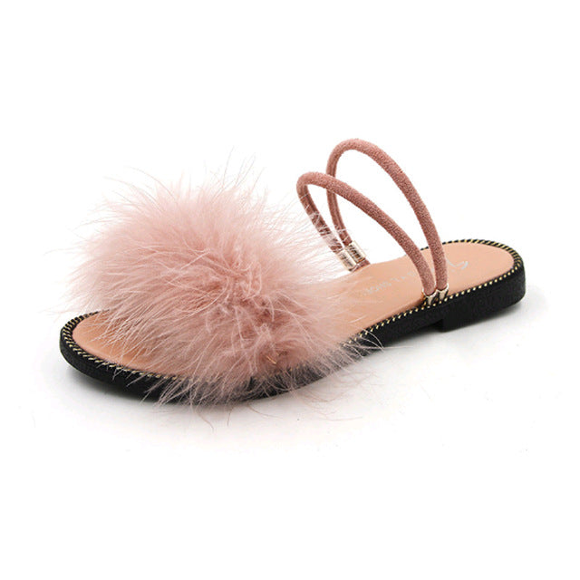 "The 'Annette"" Marabou Feather Plush Suede Slides"