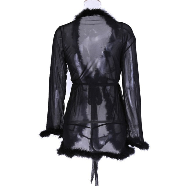 Marabou feather Trimmed Sheer Mesh Cardigan Cover-up