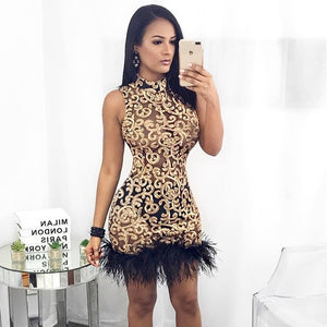Ceremokiss Summer Feather Sequined Sexy Dress Women Stand elegant Mini Autumn Dress 2019 Off the Shoulder Party Dresses Vestido