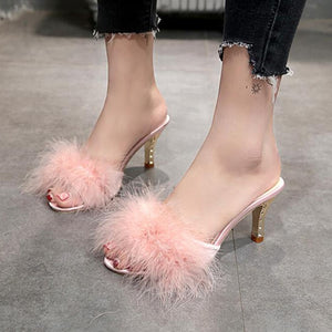 "The ""Marilyn"" High Heel Marabou Feather Slippers"