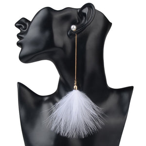 Shoulder Duster Feather Statement Pearl Earrings