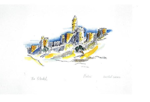 Micrography jerusalem Citadel Paper Print Open Edition - Size: 9in x 6in