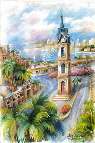 Jaffa Clock Tower *free shipping on all items* - Michal Meron Art Gallery free shipping on all items