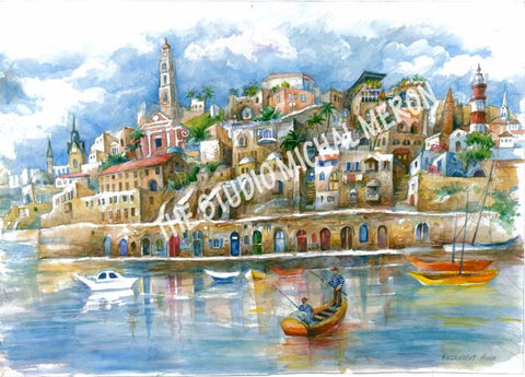 Jaffa port By Anna Rozenblat - Michal Meron Art Gallery free shipping on all items