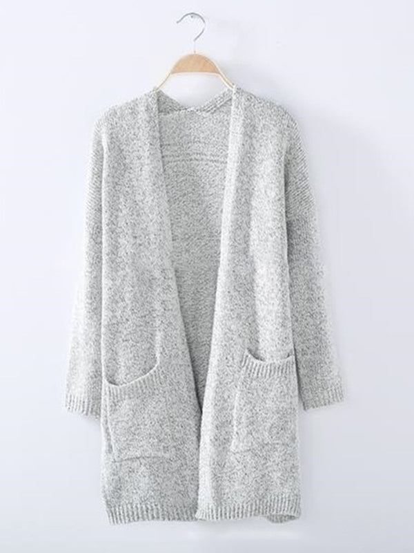 Light Gray Wool blend Pockets Winter Knitted Plus Size Cardigan