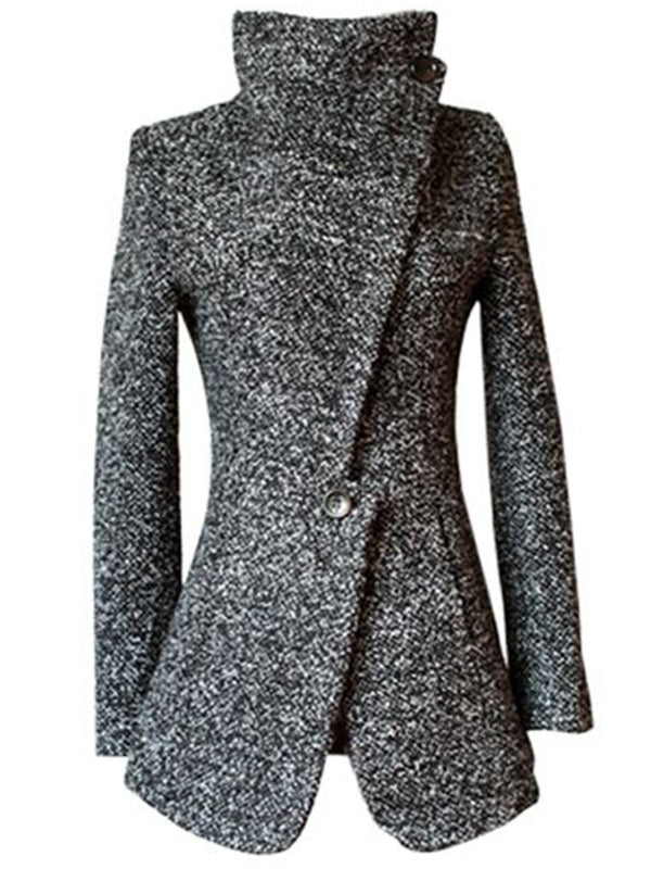 Gray Vintage Tweed Turtleneck Outerwear