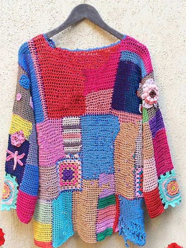 Multicolor Knitted Tribal Crew Neck Long Sleeve Sweater
