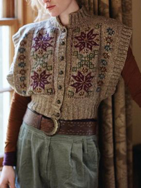 Knitted Vintage Stand Collar Floral Sweater