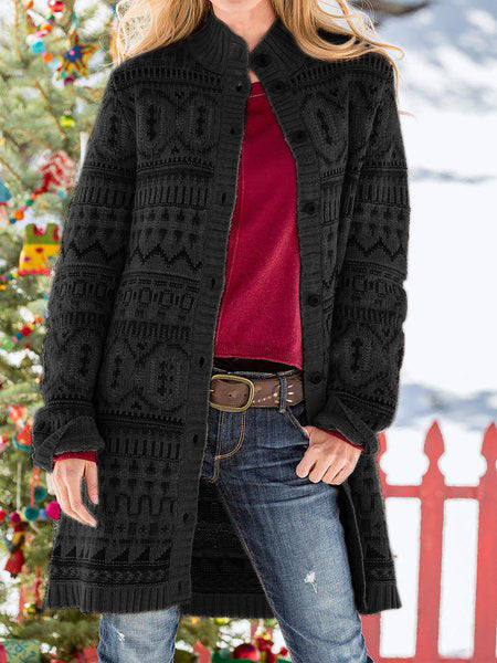 Multicolor Cotton-Blend Turtleneck Casual Outerwear
