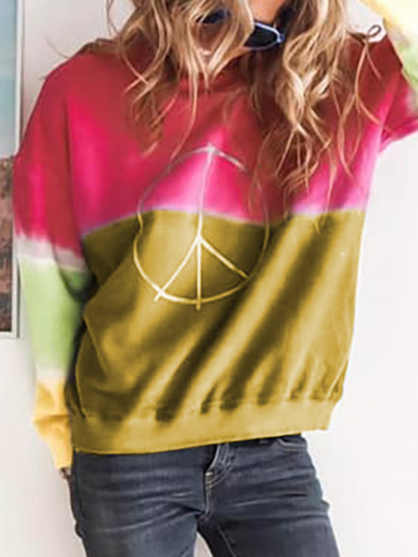 Women Cotton Round Neck Long Sleeve Ombre Sweatshirt