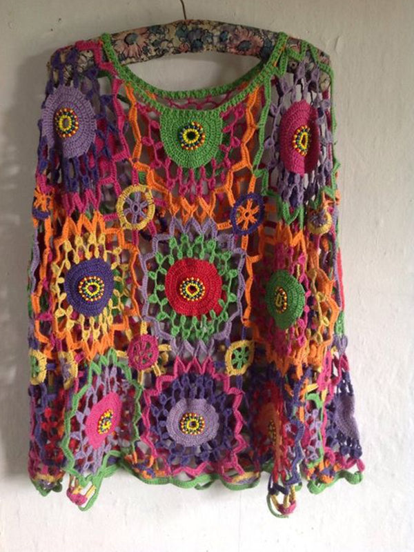 Purple Long Sleeve Crocheted Sweater