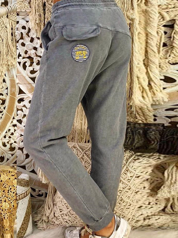 Plus Size Gray Cotton Casual Pants