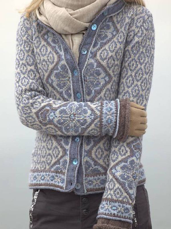 Blue Knitted Casual Buttoned Outerwear