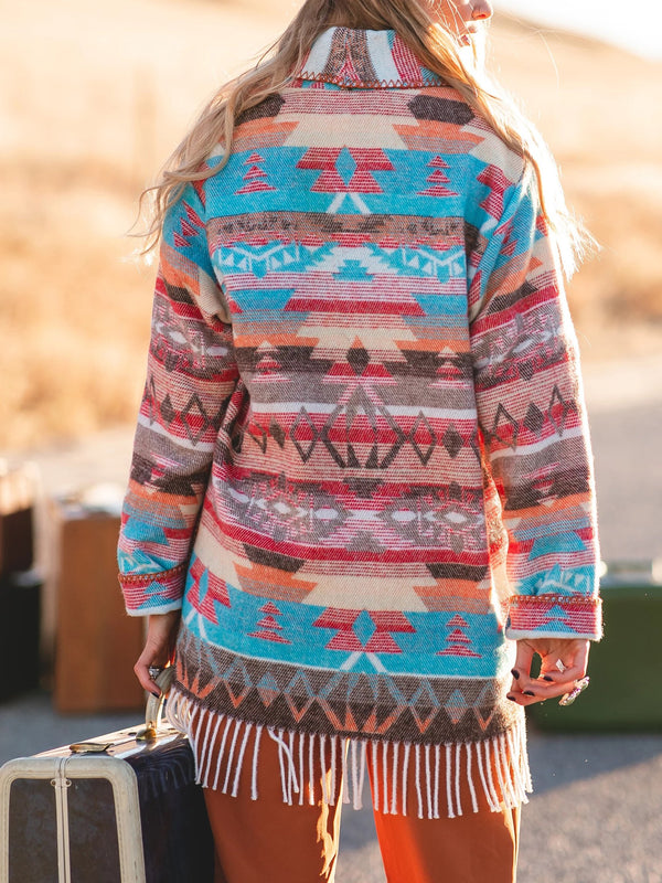 Turn-Down Collar Boho Outerwear