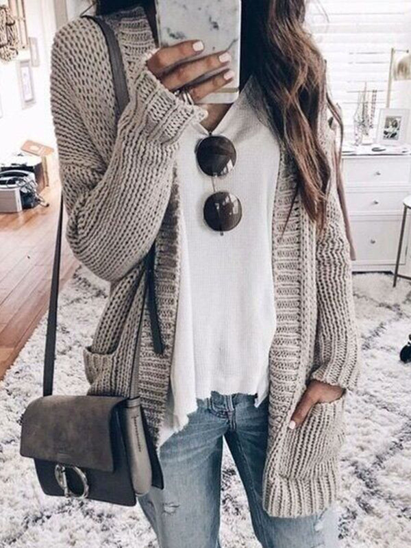 Cotton Knitted Solid Long Sleeve Tops