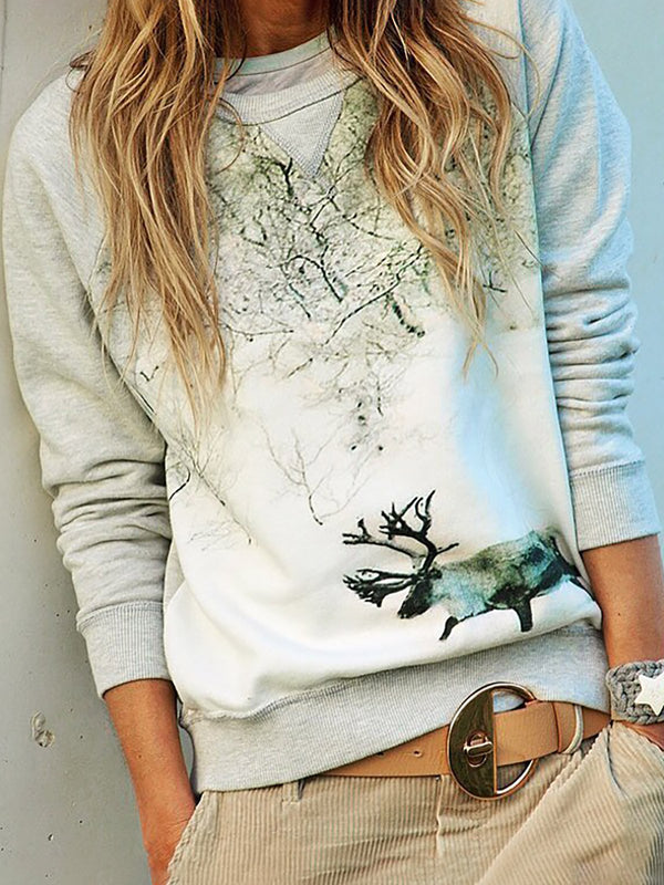 Plus Size Round Neck Animal Long Sleeve Sweatshirts