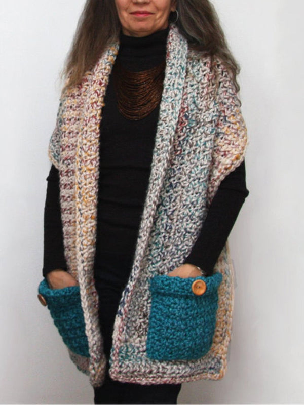 Multicolor Sleeveless Solid Cotton Shift Scarves & Shawls
