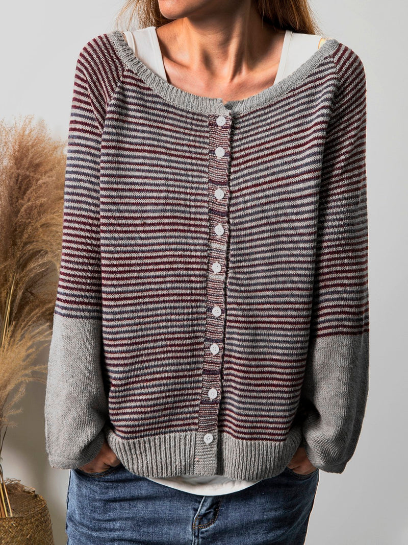 Women Buttoned Striped Casual Knitted Tops