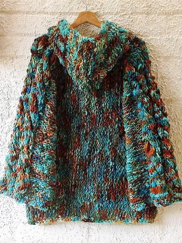 Women's  Casual Round Neck Long Sleeve Multicolor Sweater