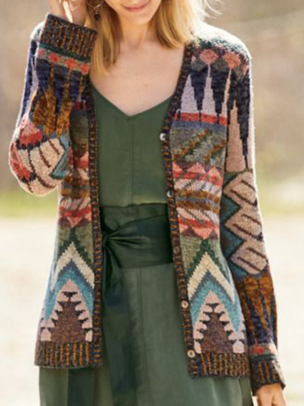 Plus Size Multicolor Knitted Long Sleeve Outerwear