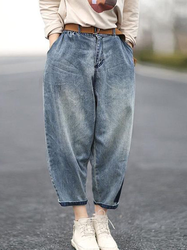 Denim Pockets Casual Pants