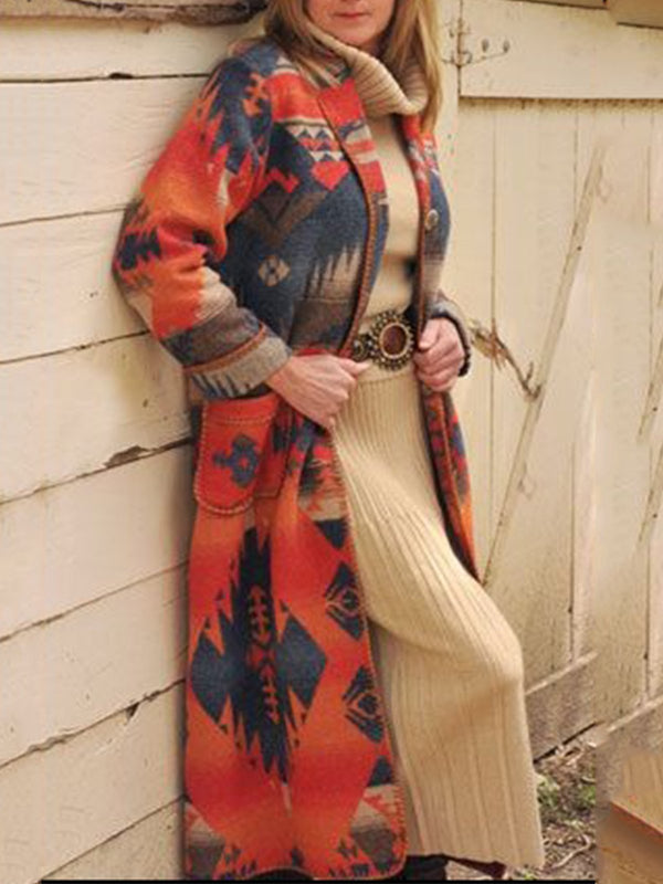 Plus Size Geometric Printed Long Sleeve Outerwear