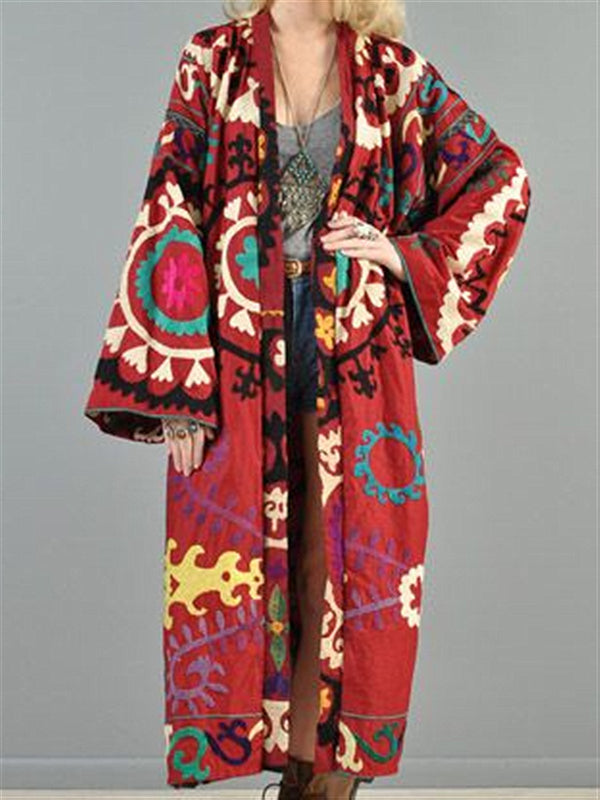 Red Flora Printed Vintage Casual Oversize Long Coat