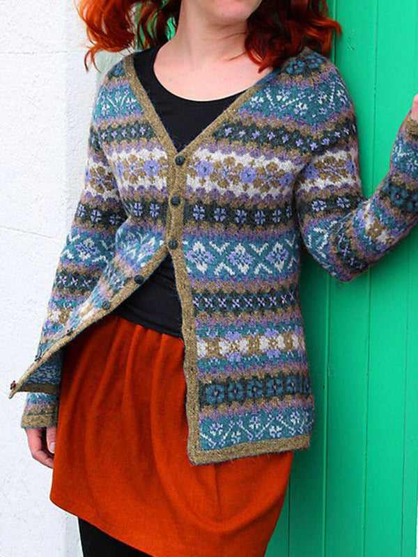 Multicolor Tribal Knitted Knitted Casual Outerwear