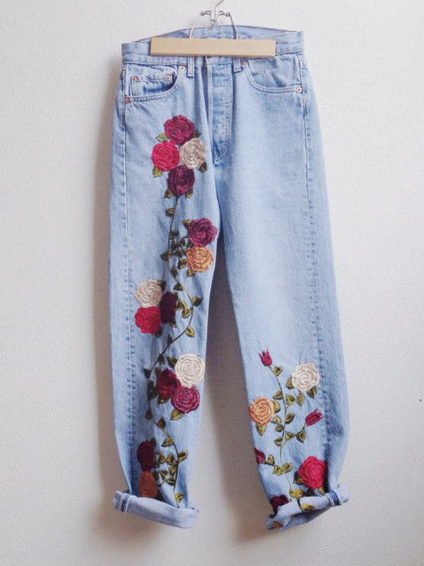 Casual Plus Size Denim Pants