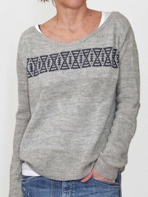 Gray Casual Cotton-Blend Geometric Shirts & Tops