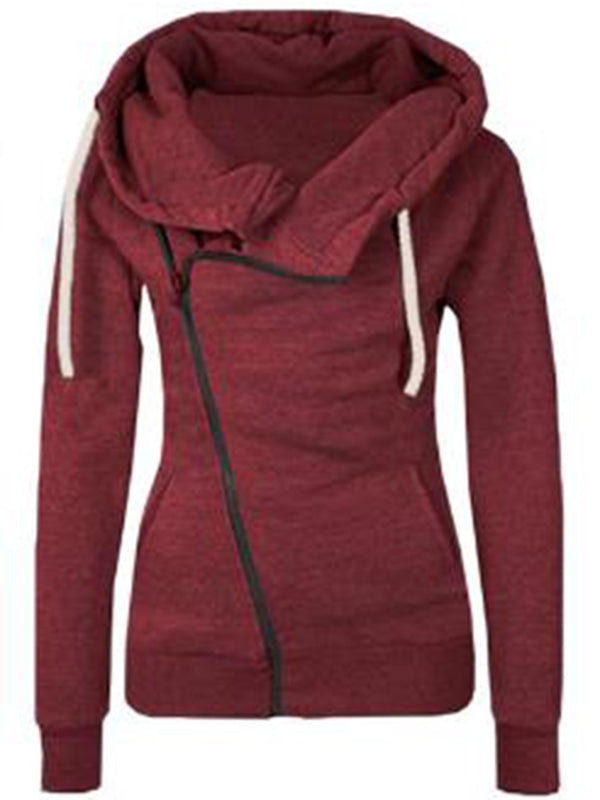 Casual Solid Plain Zipper Hoodies